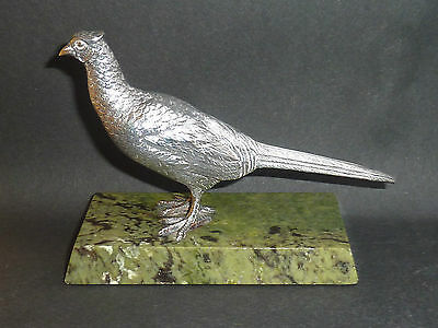 Vintage Sterling Silver Pheasant On Onyx Base A E Jones Birm 1965
