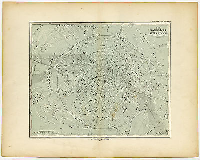 2 Antique Maps-CHART-CELESTIAL-STARS-CONSTELLATION-Stieler-Bruhns-1873