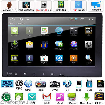 "9"" Double 2 Din Android 5.0 Car Stereo Radio MP5 Player GPS Nav BT iPod 3G WIFI"