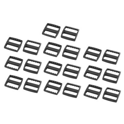 Bag Webbing Strap Plastic Rectangle Connecting Tri Glide Buckles Black 20pcs