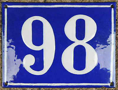 Large old French house number 98 door gate plate plaque enamel steel metal sign