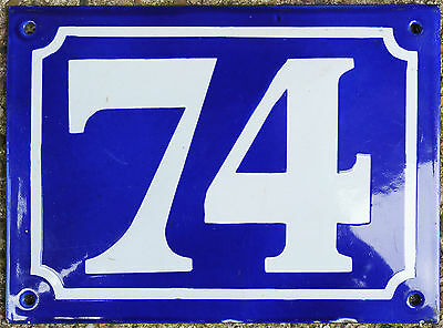 Large old French house number 74 door gate plate plaque enamel steel metal sign