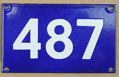 Old Australian used house number 487 door gate enamel metal sign in French blue