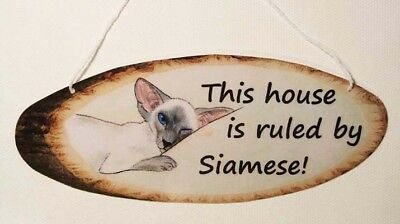 Siamese Cat Rules The House Painting Laminated Card Hanging Sign Suzanne Le Good