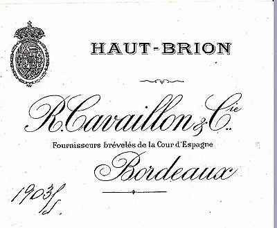 W028-OLD LABEL-ETICHETTA - Bordeaux - R. Cavaillons & C. signed 1903