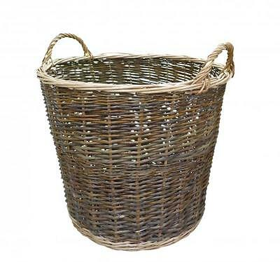 Natural Brown Wicker Round Storage Log Display Basket with Handles
