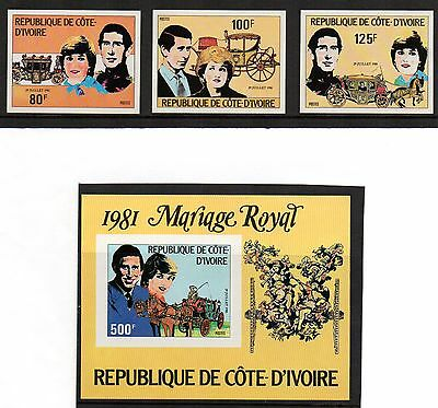 1981 IVORY COAST Charles & Diana Wedding Imperf set & m/sheet unmounted mint