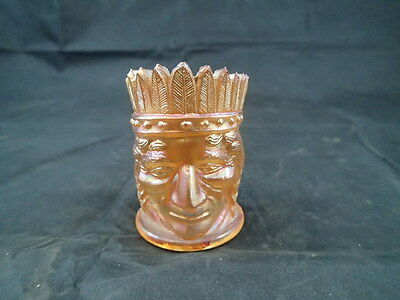 Vintage Joe St. Clair Indian Peach Carnival Glass Toothpick Holder