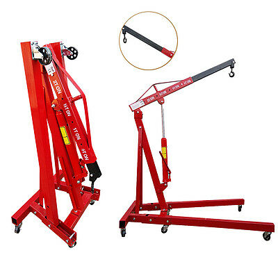 Heavy Duty Engine Crane Folding Hydraulic Stand Hoist Lift Jack 1 Ton Red New