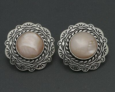 Carolyn Pollack Sincerely Southwest Sterling Pink Mother-of-Pearl Clip Earrings