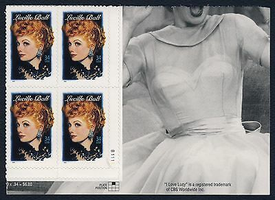 #3523 34c Lucille Ball, Plate Block-Lower Right, Mint **ANY 4=FREE SHIPPING**
