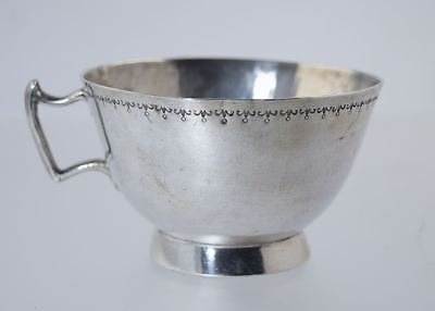 ANTIQUE SPANISH COLONIAL SILVER HANDLED CUP w/STAMPED PATTERN EDGE
