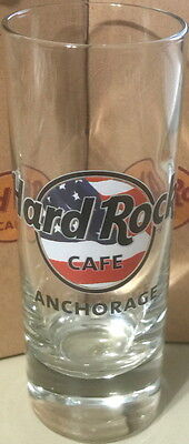 "Hard Rock Cafe ANCHORAGE 2015 USA FLAG HRC LOGO 4"" SHOT GLASS Cordial Glassware"