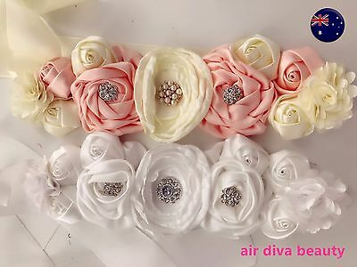 Girls Kids Lady Wedding Satin Flower Party Dress Belt tie hair band headband