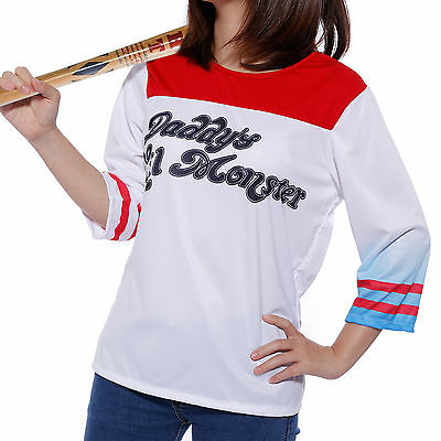 Harley Quinn Suicide Squad T-shirt Top Book Week Cosplay Costume Fancy Dress
