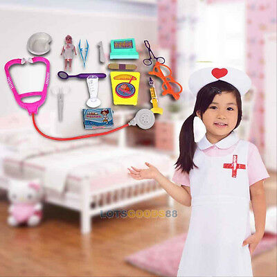 15Pcs Kids Doctor Medical Play Sets Carry Case Kit Education Role Play Toys BB