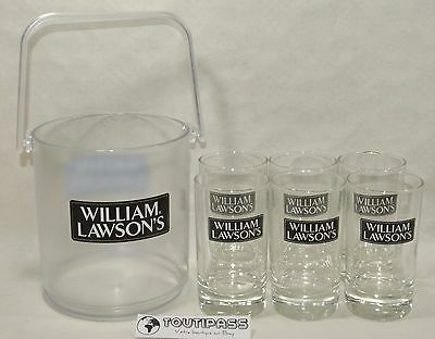 WILLIAM LAWSON WHISKY 6 Verres tube 17 cl NEUF + seau glace offert