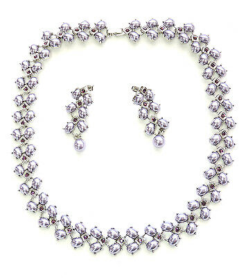 Amethyst Color Rhinestone Crystal & Faux Pearl Necklace & Earrings Set C736