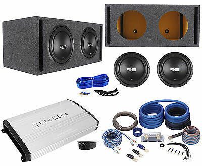 "2 RE Audio SXX12D4 V2 12"" 2400W Subwoofers+Vented Sub Box+Mono Amplifier+Amp Kit"