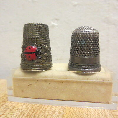 Vintage Thimble Lot Of 2 Old Enameled Lady Bug And Sterling Other Tested
