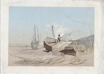 Watercolour Drawing Of A Fisherman & Sail & Lobster Pot On A Beach c19th
