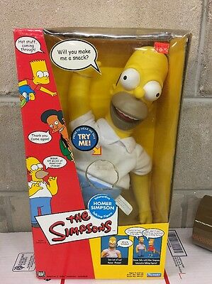 """Playmates The Simpsons Homer Simpsons Interactive 18"""" Talking Doll See Des"""