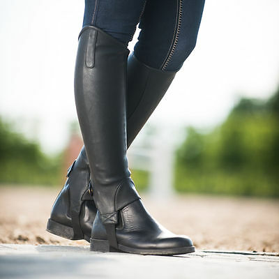 Horze Black DESTA Synthetic Leather Show English Equitation Riding Half Chaps