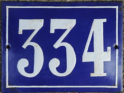 Old blue French house number 334 door gate plate plaque enamel steel metal sign
