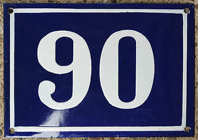 Large old blue French house number 90 door gate plate plaque enamel steel sign