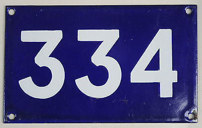 Old Australian used house number 334 door gate enamel metal sign in French blue