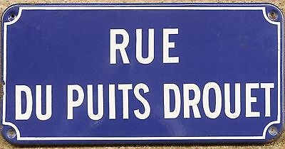 French enamel steel street sign plaque plate road Rue du Puits Drouet Chartres