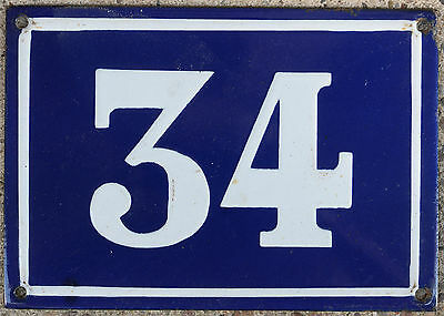 Large old French house number 34 door gate plate plaque enamel steel metal sign