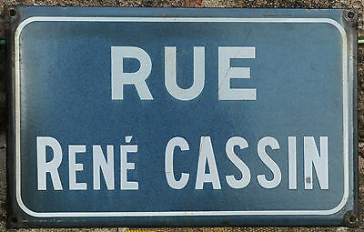 French enamel street sign road plaque vintage Rue René Cassin Nobel Peace Prize