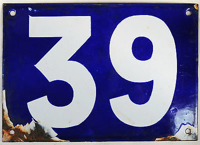 Giant old blue French house number 39 door gate plate plaque enamel metal sign