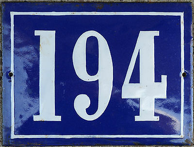 Large old French house number 194 door gate plate plaque enamel steel metal sign