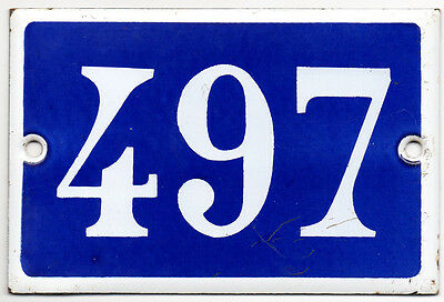 Old blue French house number 497 door gate plate plaque enamel steel metal sign