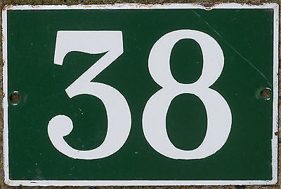 Green French house number 38 door gate plate plaque enamel steel metal sign