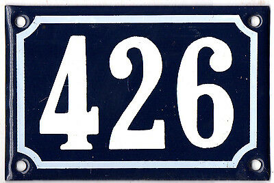 Old blue French house number 426 door gate plate plaque enamel steel metal sign