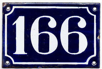 Old blue French house number 166 door gate plate plaque enamel steel sign c1900