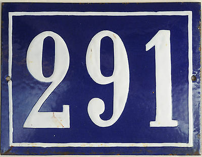 Big blue French house number 291 door gate plate plaque enamel steel metal sign