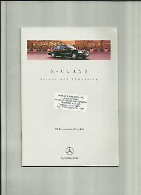 Mercedes Benz S-Class Saloon And Limousine  Price List Car Brochure June 1996