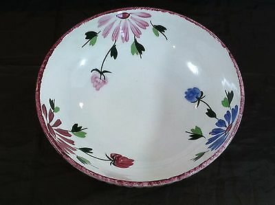"Blue Ridge Southern Potteries Mardi Gras Serving Bowl 10"" Pink & Blue Flowers"