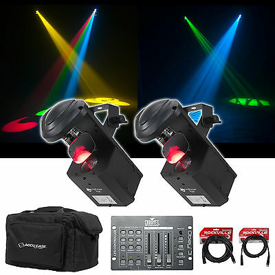 2) American DJ ADJ Inno Pocket Scan LED DMX Scanner Lights+Bag+Controller+Cables