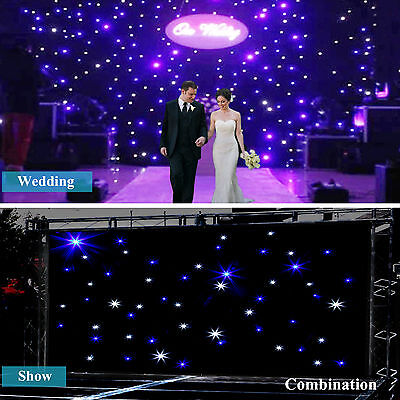 10x6.5ft/20x10ft LED Wedding Party Stage Curtain White & Blue Star LED Backdrop