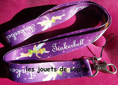 Clochette mauv TOUR COU tinkerbell cordon porte clef Badge KEYCHAIN clef lanyard
