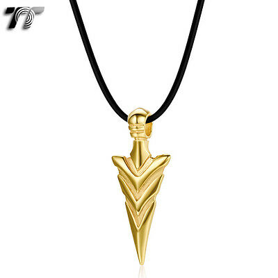 Quality TT Gold GP 316 Stainless Steel Spear Pendant Necklace (NP296J) NEW