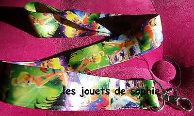 Clochette vert TOUR COU tinkerbell cordon porte clef Badge KEYCHAIN clef lanyard
