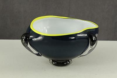 Vintage Mid Century Art Glass Footed Bowl Cobalt Blue Cased White Bright Yellow