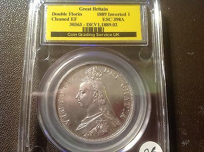 1889 Victoria Double Florin CGS Cleaned EF a great coin