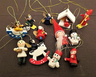 Lot of 12 Dollhouse Miniature Painted Wooden Christmas Ornaments 1""